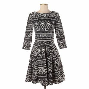 H&M Aztec Print Fit Flare Long Sleeve Dress